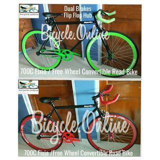 700C Fixie / Free Wheel HARRIS Bullhorn Convertible Road Bikes ☆ Dual Brakes ☆ Brand New Bicycles, Promo $189
