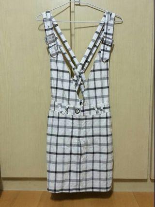 【 Sonsy 】采夏 白底/黑灰格紋 肩帶可調吊帶裙