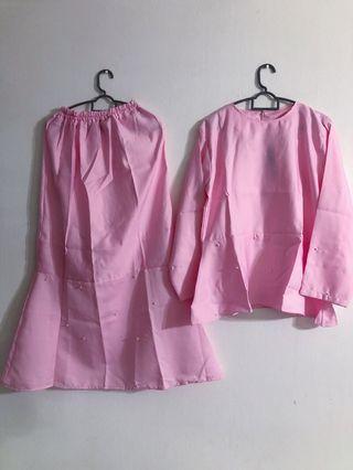 BN Pink Pearl Top & Mermaid Skirt Baju Kurung Set