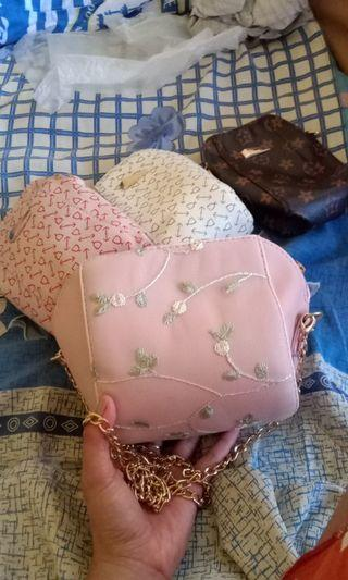 Tas bordir / lace / pink /slingbag/cluth / tote bag