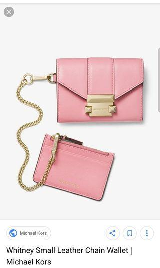 🚚 mk small leather chain wallet