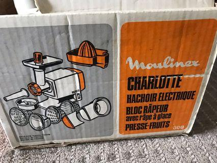 Charlotte electric meat grinder / salad maker with ice crusher cone / fruit juicer