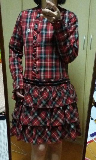 【金安德森】Kinloch Anderson 紅格紋蛋糕裙洋裝 全內裡 (全新)