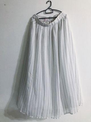 Vertical Stripes Black White Monochrome Maxi Skirt