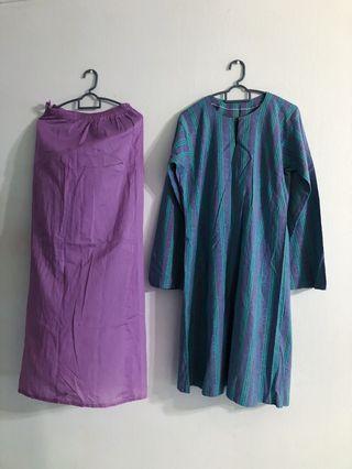Pastel Blue Purple Baju Kurung