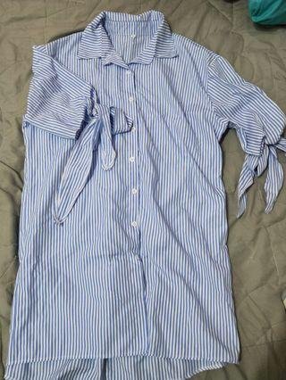 🚚 條紋長版綁帶襯衫