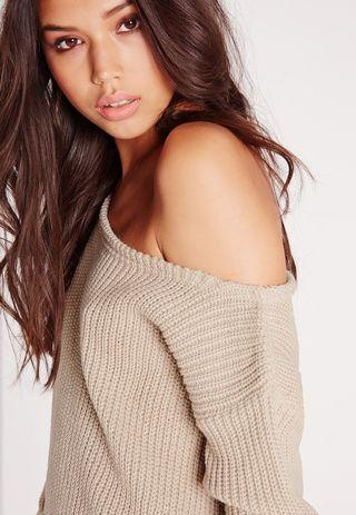 Missguided Nude Crop Off Shoulder Sweater