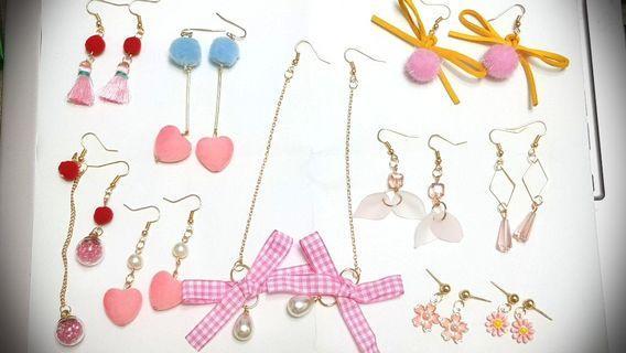 🚚 【手作,耳飾】粉色系列耳環耳鈎耳夾