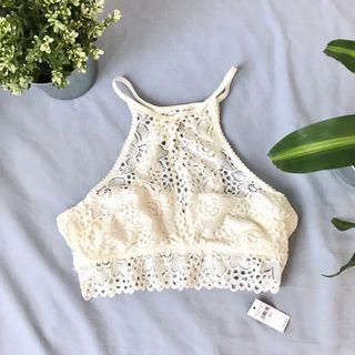 Flirty White Aerie High Neck Bralette