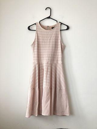 BCBG fit and flare blush pink dress