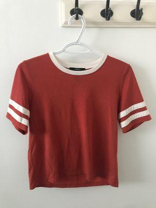 Copper Striped Short Sleeve Top