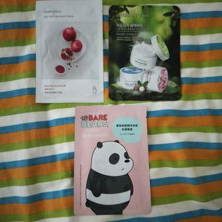 Innisfree, nature Republic and we Bare Bears Panda face masks