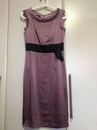 🚚 Midi satin dress in purple (used)