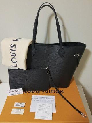Authentic Louis Vuitton Neverfull MM in Epi Noir