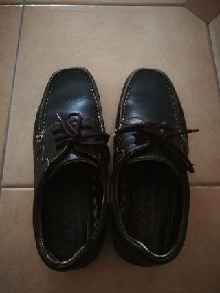Dark brown, non-leather, size 41