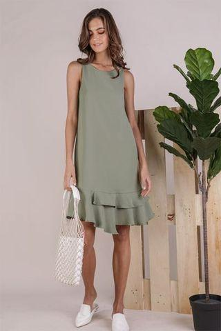 Brand New TTR The Tinsel Rack Andra Tiered Midi Dress in Sage Green XS Size