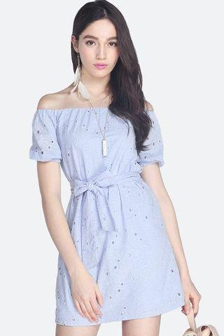 Fayth Leanne Eyelet Dress in Pastel Periwinkle XS Size (Brand New)