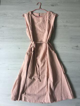 Brand New Midi Dress in Pink Free Size