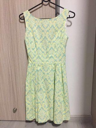 Skater Flare Dress in Mint Yellow Prints S Size