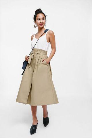 🚚 Maudina Sash Foldover Paperbag Midi Skirt in Khaki