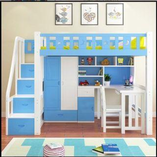 高架床 彩漆 實木床 組合床 單人床 衣櫃 桌 電腦 書桌 書架 梯櫃 松木 碌架床 租房 劏房 私樓 190601tr
