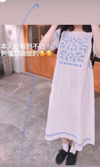 轉賣nitt 圖騰刺繡長洋裝