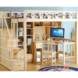 高架床 組合床 實木床 衣櫃床 衣櫃 桌 電腦 枱 書桌 書架 梯櫃 松木床 碌架床 租房 劏房 私樓 190601ts