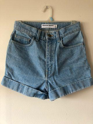 American Apparel High Waisted Jean Shorts Size 26