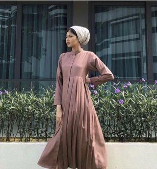 (FAST DEAL!) Dusty Pink Half Pleated Dress