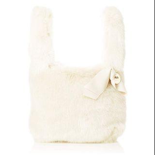 (附實物圖)日本JILL by JILLSTUART米白毛毛手挽袋