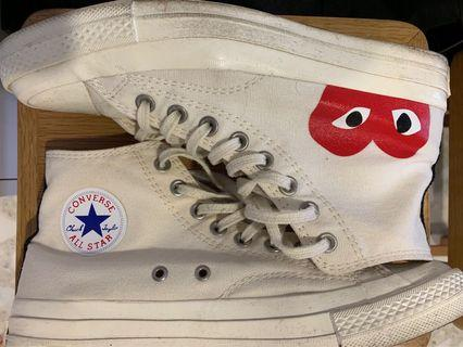 CDG Converse Hightcut Cream White