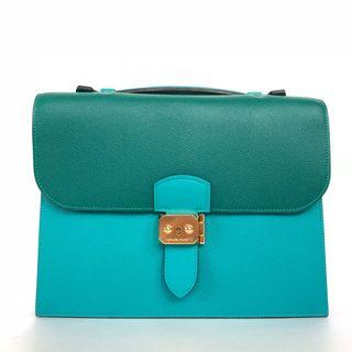Hermes - HSS Special Order Malachite / Blue Paon Sac a Depeche 27 in Veau Epsom with GHW