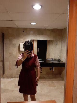 Dress pink n merah maroon