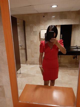Dress bertangan peach