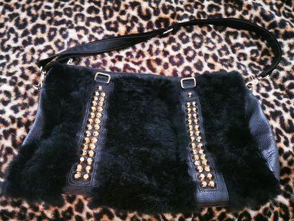 Preloved Genuine leather & rabbit fur bag