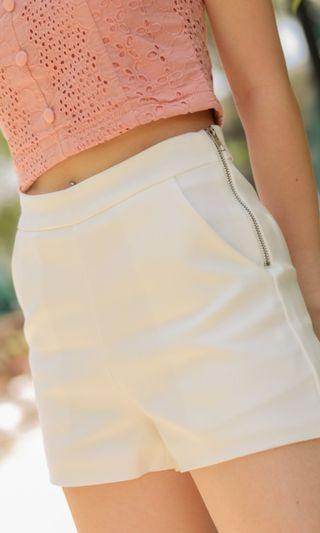 BN Danielle White Side Zipper High Waist Shorts