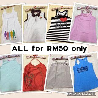 Preloved 8 pcs Ladies Camisole swing Top ALL RM50 only