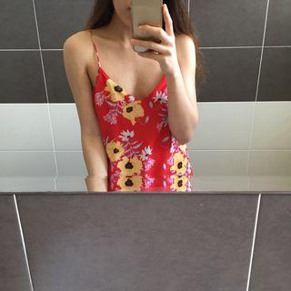 H&M Red Floral Midi Slip On Dress