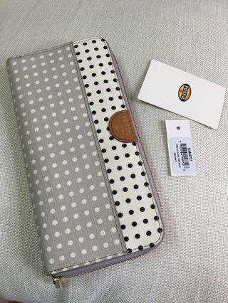 Fossil wallet zip clutch with grey/white