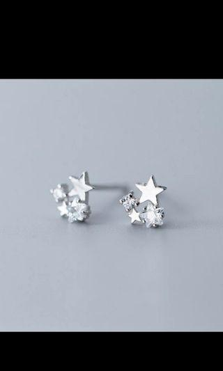 100% 925 Solid Real Sterling Silver Jewelry 6mmX6mm Star With CZ Stud Earring