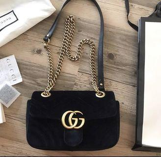 Gucci Marmont Suede Small Complete Set with Receipt