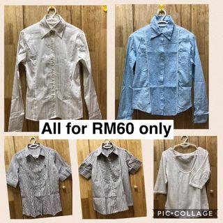 Preloved 5 pcs of Ladies office Blouse ALL RM60 only