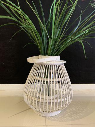 Home decoration wooden vase in white