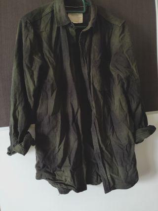 Dark green checkered shirt COTTON ON