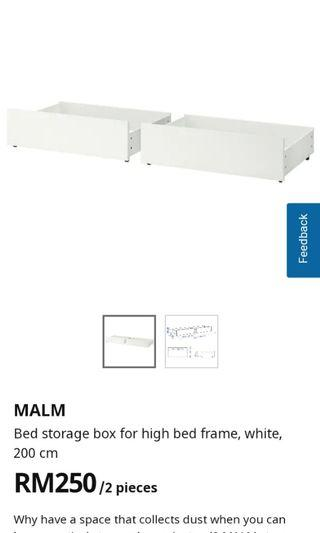 4 pieces MALM storage box for high bed frame