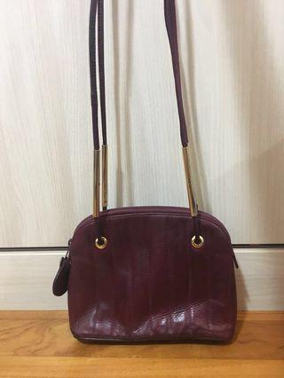 FENDI Vintage Sling bag leather burgundy Vintage