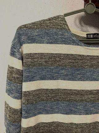 Long Sleeve Top / pullover / blue, white, grey, stripe