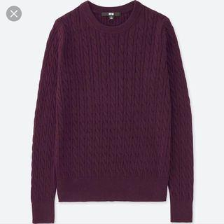 BNWT cotton cashmere cable knit crew neck women sweater