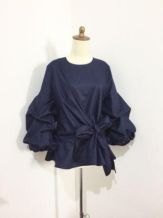 Navy Top blouse biru dongker
