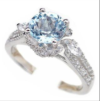 925 Sterling Silver Ring SKY BLUE TOPAZ PLATED WHITE GOLD ASIA SZ 15